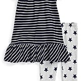 Stripe Peplum Dress and Star Leggings Set