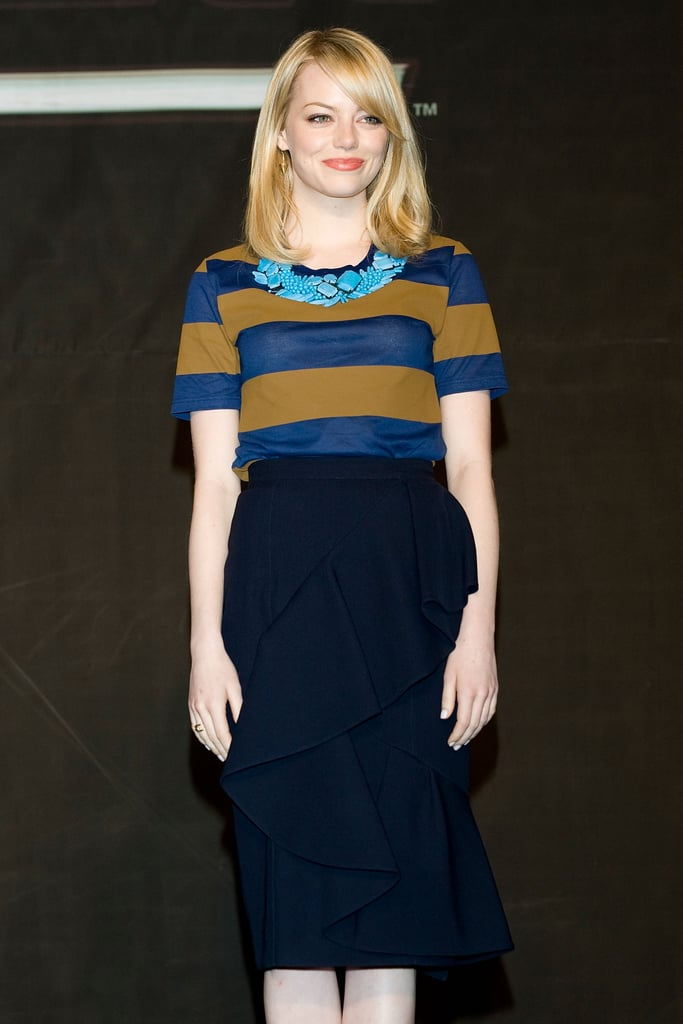 Emma Stone was decked out in Burberry Prorsum in South Korea.