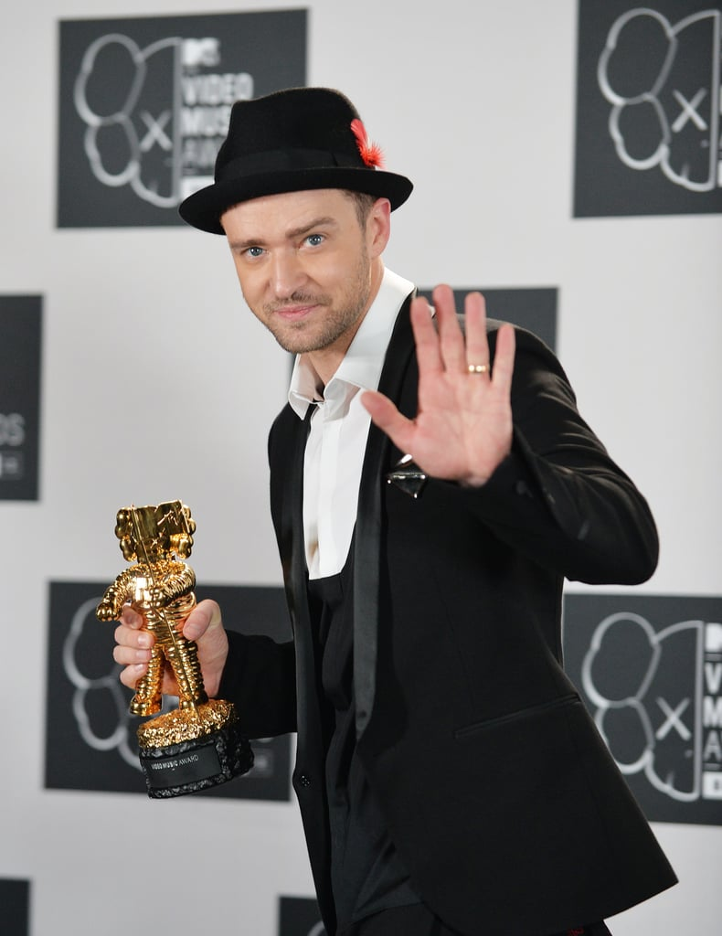 Justin Timberlake gave a wave while in the VMAs press room.