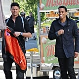 Karl Urban and Michael Ealy spent Tuesday on the set of Almost Human in Vancouver, Canada.