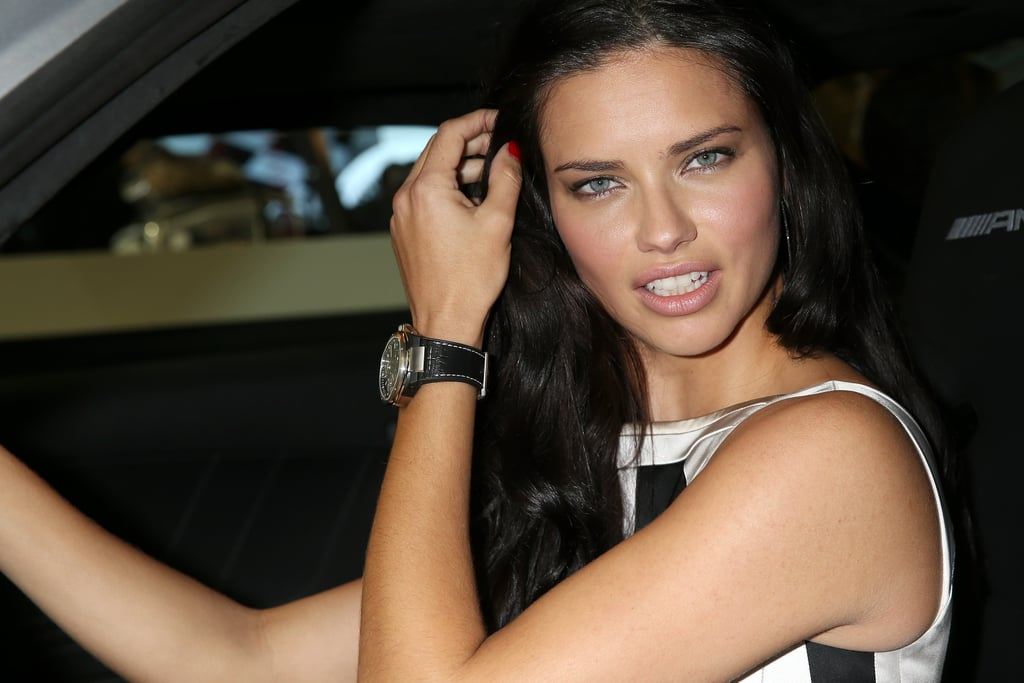 adriana lima posed in a sports car in switzerland adriana lima in sexy black dress at iwc. Black Bedroom Furniture Sets. Home Design Ideas