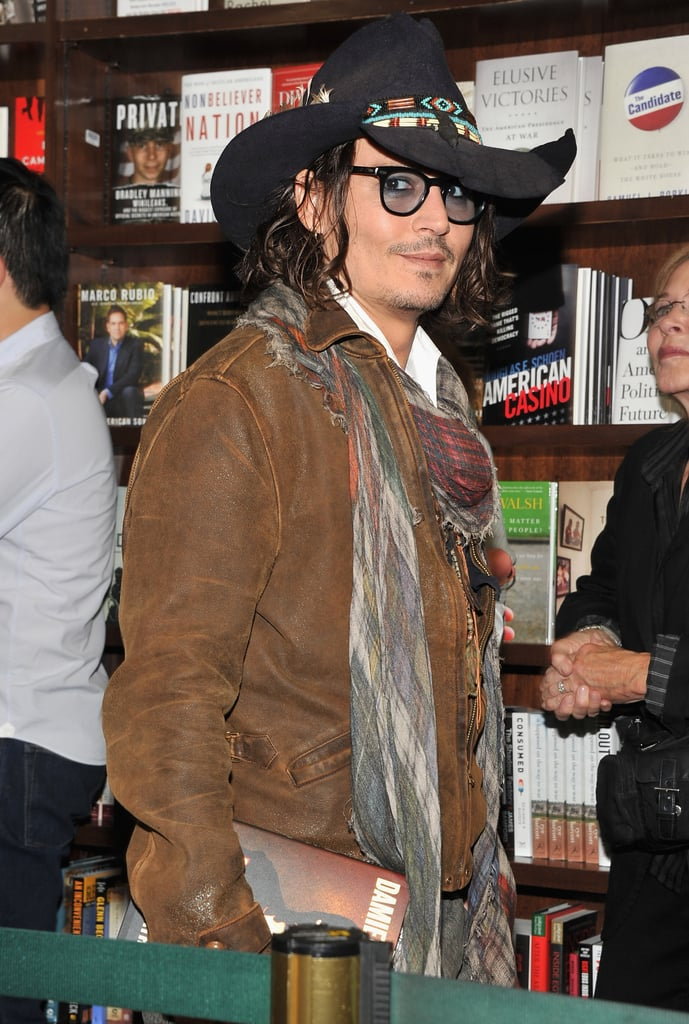 Johnny Depp was welcomed to NYC on Friday night by a crowd of fans who came out to get a glimpse of the star at a Barnes & Noble bookstore in Union Square. He was in LA earlier this week then travelled to the East Coast to support friend and author Damien Echols' new book, Life After Death. Nichols, a former death row inmate, was part of the West Memphis Three, who were recently released from prison after wrongfully serving 18 years. This isn't the first time Johnny stepped out to support Nichols: he traveled to Canada just last month for the TIFF premiere of West of Memphis. While Johnny was spending time in the Big Apple, a tragedy occurred on the set of his new film, The Lone Ranger — a crew member died after he was found unresponsive in a large tank while prepping for an underwater scene.