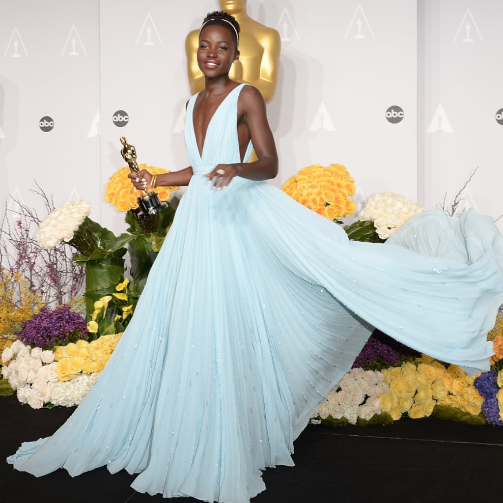 Lupita Nyongo In Light Blue Prada Dress At Oscars 2014