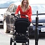 Hilary Duff sported a red long-sleeved shirt as she pushed the stroller.