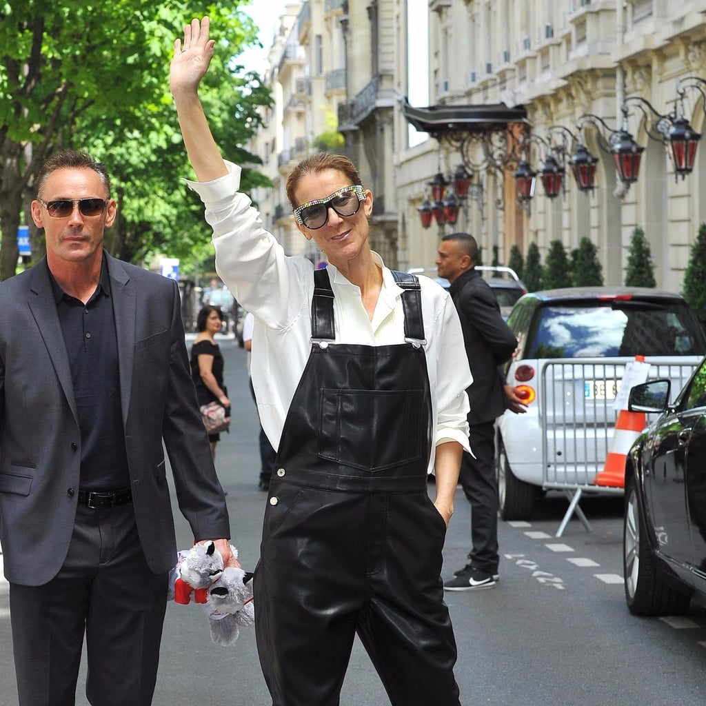 Celine Dion Wearing Leather Overalls