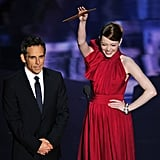 Emma Stone presented an award with Ben Stiller.