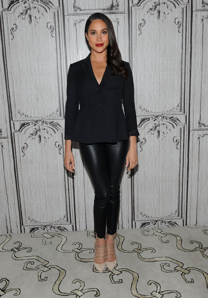 In March 2016, Meghan opted for a pair of black leather trousers and a chic blazer.