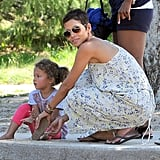 Halle Berry and Nahla Aubry dusted the sand out of their shoes.