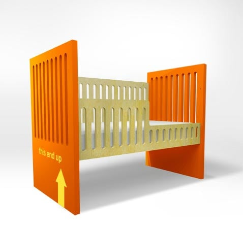 "Ducduc NY's Alex Crib ($1,300) is available in 10 different color combos, and comes with an adorable text applique reading ""Fragile,"" ""Boy,"" ""Girl,"" ""This End Up,"" or ""Bambino."" Alternately, you can have your own custom applique made with your baby's name, initials, or date of birth."