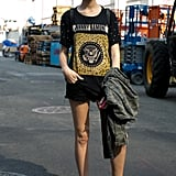 She gave cutoffs a makeover with a cool tee and a little camo print.
