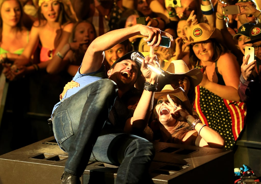 Plus, he's a total goofball and took a selfie with a little girl in the front row.