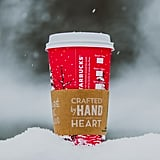 Sip out of festive red cups from Starbucks.