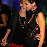 Justin Bieber gave girlfriend Selena Gomez a smooch.
