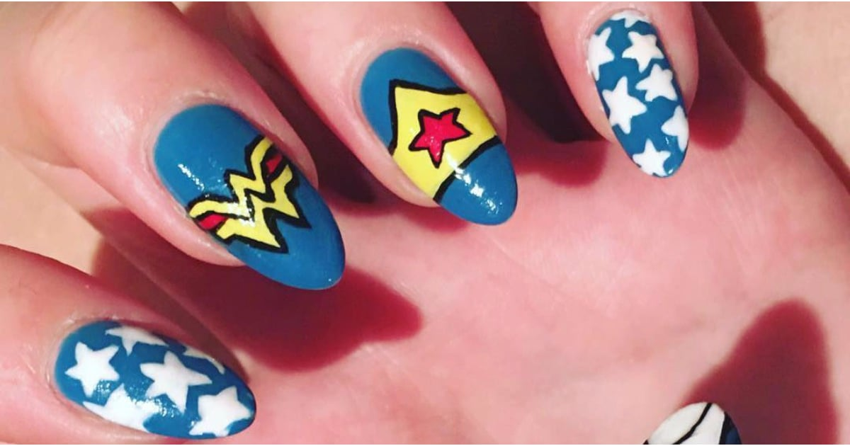 Wonder Woman Nail Art | POPSUGAR Beauty