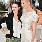 Kristen Stewart and Kirsten Dunst were arm-in-arm at the On the Road photocall at the Cannes Film Festival.
