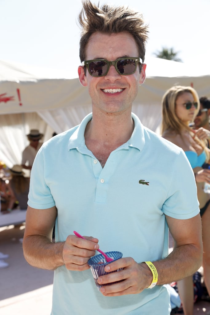 Brad Goreski smiled at the Fiji Water at Lacoste L!ve Coachella Desert Pool Party event.