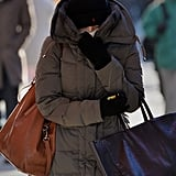 A very bundled-up woman made her way through Manhattan.