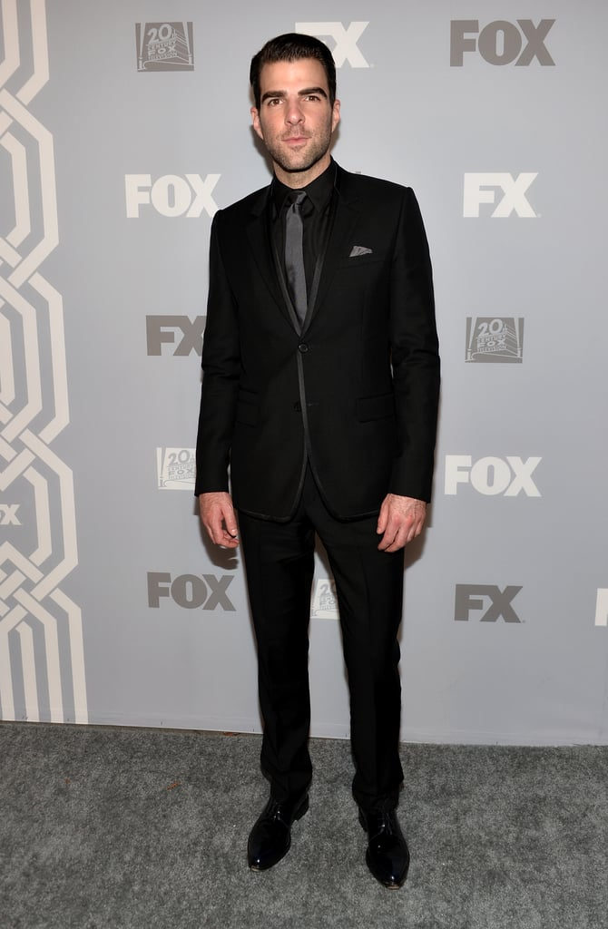 Zachary Quinto looked dark and handsome at the Fox party.
