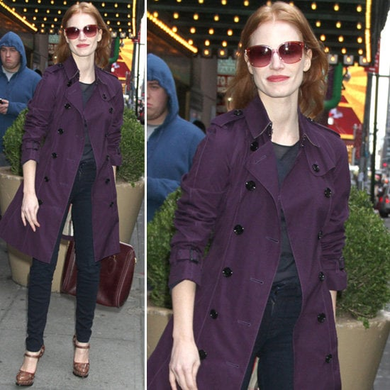 Ditch your khaki trench for something a little more colorful, à la Jessica Chastain.