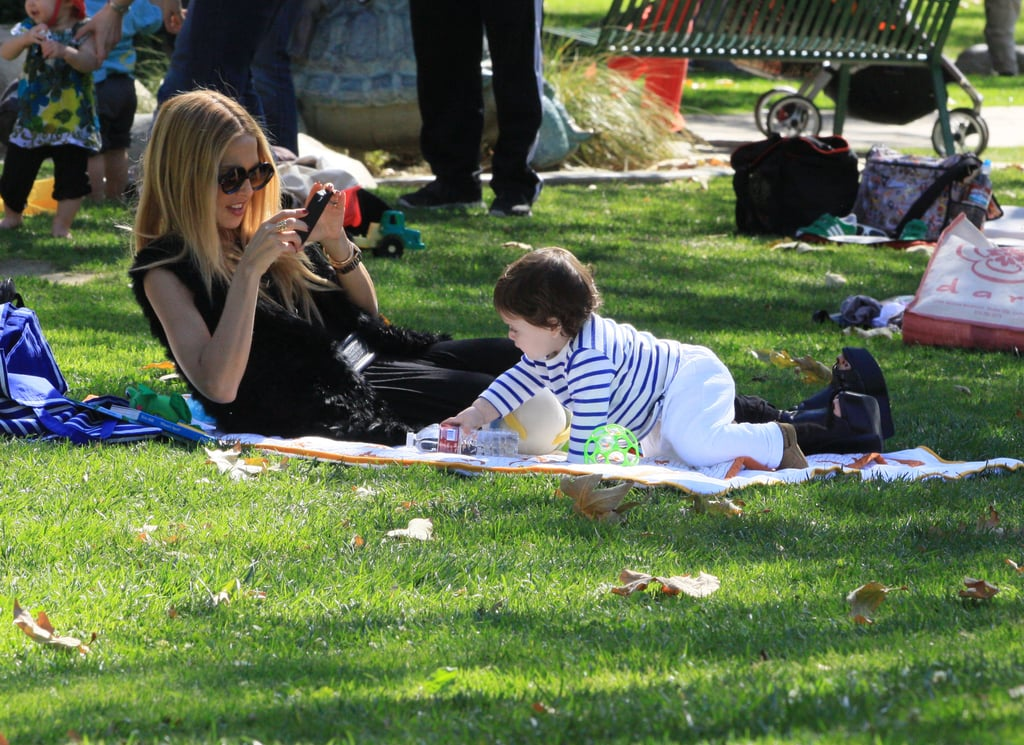 Rachel Zoe lounged in the grass at an LA park with Skyler on Saturday. The duo were out enjoying the unusually warm weather on the West Coast and Rachel snapped pictures of her little guy during their playtime. While Rachel hung out with Skyler, dad Rodger Berman was busy playing golf. Skyler and Rachel did have another visitor — Rachel's friend Mandana Dayani stopped by before the entire group headed off to shop. Rachel and Skyler have been on the go a lot lately, including multiple lunch dates with pals. Friday night was all about couples time, though, since Rachel and Rodger stayed home and watched Love Actually.