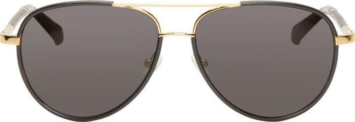 The Row Black & Gold Linda Farrow Edition Aviator Sunglasses ($495)