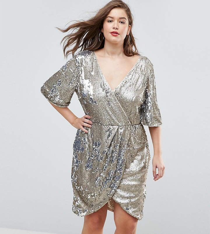 TFNC Wrap Over Sequin Midi Dress