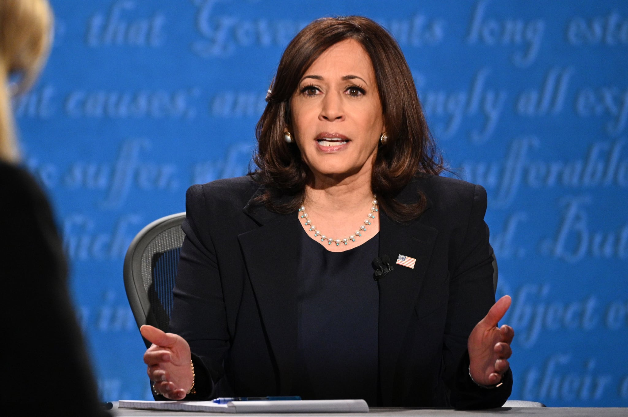 US Democratic vice presidential nominee and Senator from California, Kamala Harris speaks during the vice presidential debate in Kingsbury Hall at the University of Utah on October 7, 2020, in Salt Lake City, Utah. (Photo by Robyn Beck / AFP) (Photo by ROBYN BECK/AFP via Getty Images)