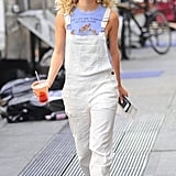 She oozed California cool in eyelet Free People overalls ($50, originally $148).
