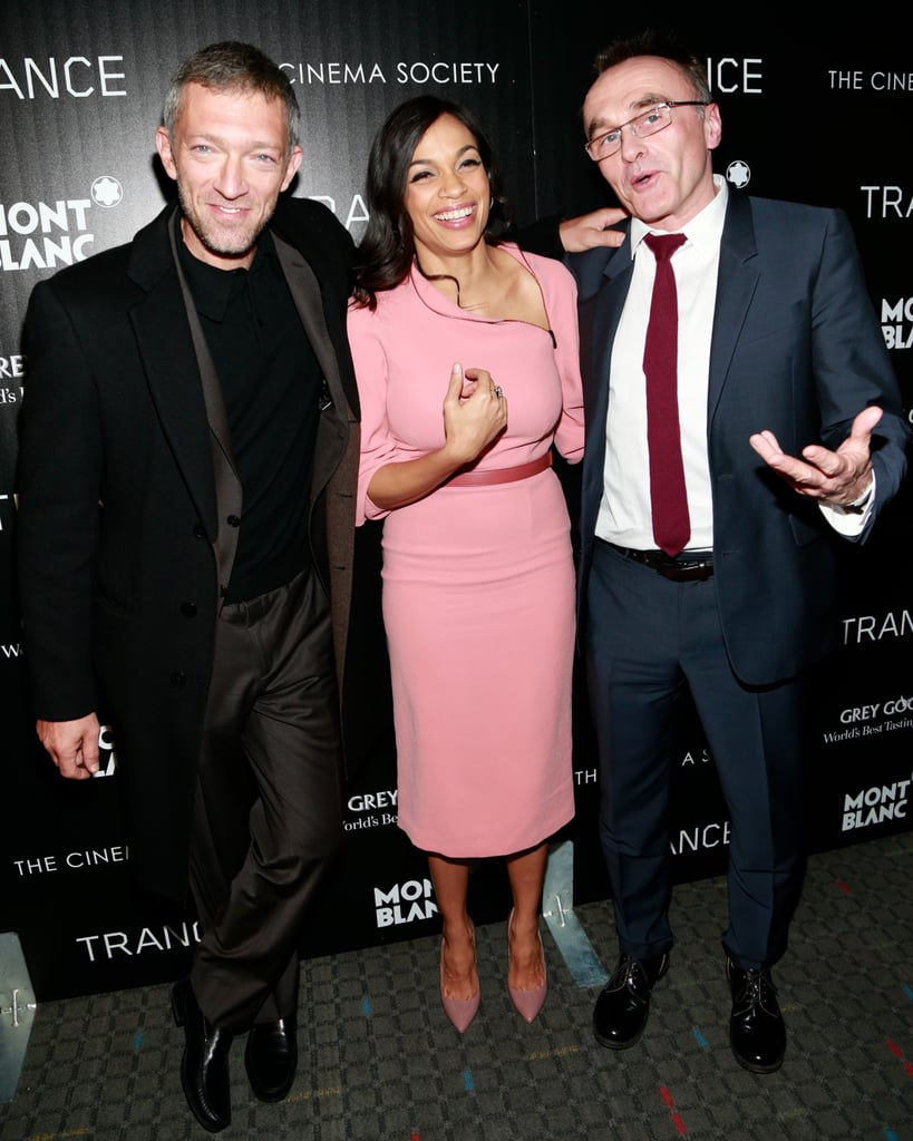 Rosario Dawson met up with ex-boyfriend Danny Boyle to premiere their new film, Trance, in NYC last night. She was joined by her costar Vincent Cassel as she joked around on the red carpet while wearing a stunning Bottega Veneta pink dress. Later, Rosario, Danny, and Vincent headed to the premiere's afterparty where the actress celebrated the arrival of a pizza delivery by cheering for joy. The cast weren't the only stars who attended the event, with The Walking Dead's Norman Reedus arriving on the arm of Debbie Harry, and Girls stars Jemima Kirke and Zosia Mamet catching a screening of the new flick.  The premiere comes hot on the heels of the announcement that Rosario and Danny had broken up, although it isn't clear how long the couple had been dating. The two were last seen together when Rosario donned a bikini during a vacation in Barbados back in January. There are rumors that Rosario is moving on with Michael Fassbender after the two were spotted together in London over the weekend.