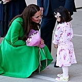 She was sweet and patient with a little girl who offered her flowers at Australia's National Portrait Gallery in April 2014.