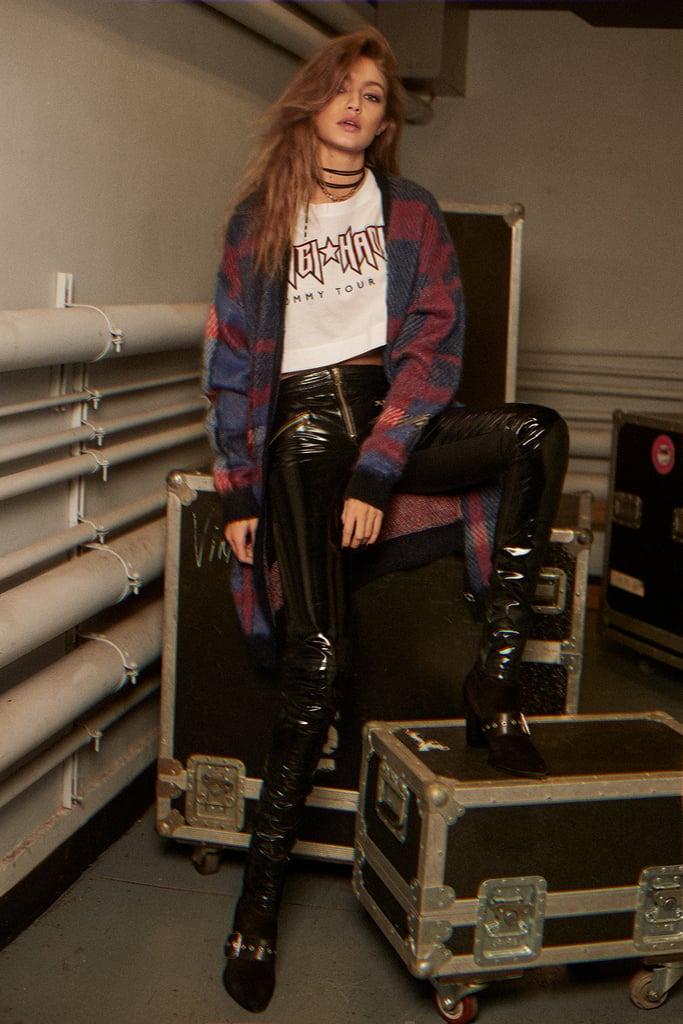 Gigi Hadid Leather Jegging ($695), Gigi Hadid Long Cardigan ($275), Gigi Hadid Rock Logo Crop Tee ($60), and Gigi Hadid Suede Heeled Boots ($190)