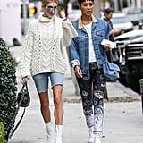 She Wore a Cable-Knit Sweater With Denim Bermuda Shorts . . .
