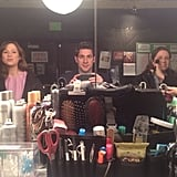 John Krasinski sat in hair and makeup with Ellie Kemper and Jenna Fischer on the set of The Office. Source: Twitter user johnkrasinski