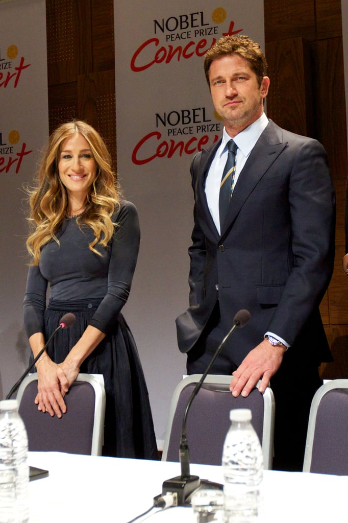 Sarah Jessica Parker joined Gerard Butler in Oslo, Norway this morning at a press conference for the Nobel Peace Prize Concert. SJP and Gerard are cohosts of this year's star-studded celebration, and they were joined today by fellow stars Jennifer Hudson, Seal, and Ne-Yo. The concert will bring the Nobel festivities to a close, after presidents from the EU's three main institutions were honored with the Nobel Peace Prize Monday. SJP and Gerard Butler headed to Norway for the annual concert after keeping busy schedules stateside. Sarah Jessica Parker joined Naomi Watts and Liev Schreiber at the New 42nd Street Gala in NYC last week, while Gerard has been busy promoting his new film, Playing For Keeps, in which he stars alongside Jessica Biel. In a recent interview, Gerard gushed about working with Jessica, but audiences weren't thrilled with their finished product — the movie tanked at the box office last weekend with only $6 million in ticket sales.