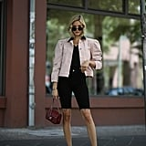 Style Black Bermuda Shorts With a Pink Jacket and Ankle-Strap Heels