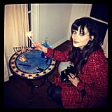 Zooey Deschanel celebrated Hanukkah. Source: Instagram user zooeydeschanel