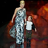 Kingston joined his mom on the runway at New York Fashion Week in 2011.