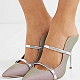 Malone Souliers Maureen Metallic Leather Trimmed Iridescent Canvas Mules