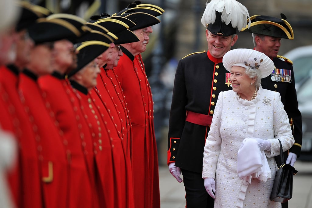 The queen greeted pensioners at Chelsea Pier for the Thames Diamond Jubilee Pageant.