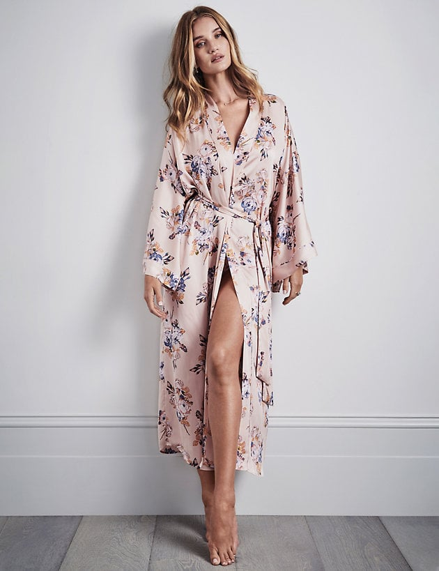 Marks and Spencers Satin Floral-Print Robe