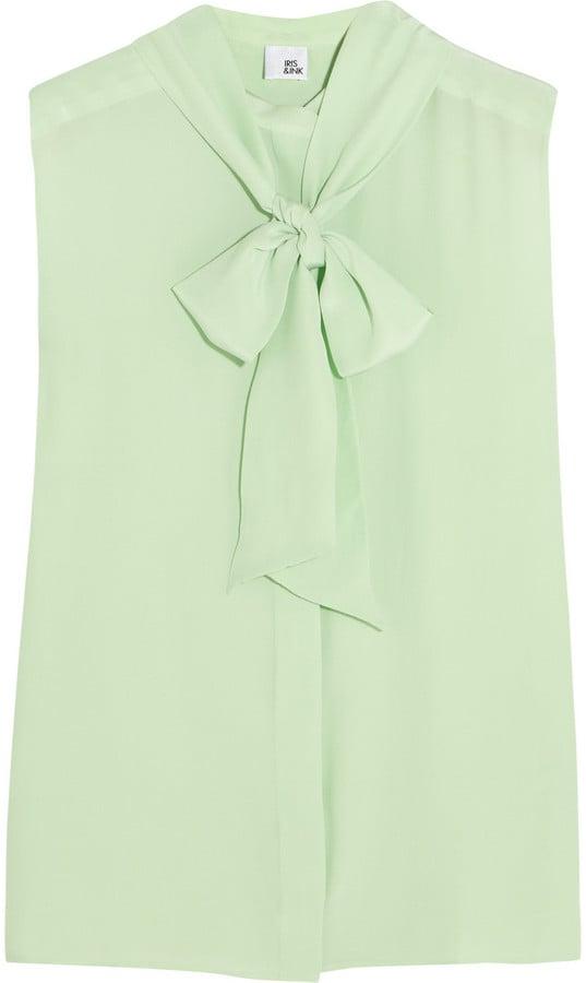 Iris & Ink Mint Green Eva Silk Pussy-Bow Blouse ($105)