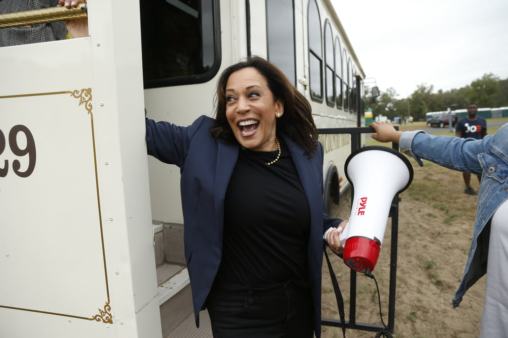 Kamala showed off a modern gold strand of pearls at the Blue Jamboree in North Charleston, SC, in October 2019, which were finished more casually with dark denim and a navy blazer.