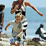 Jenny McCarthy and Evan Run in the Malibu Sands
