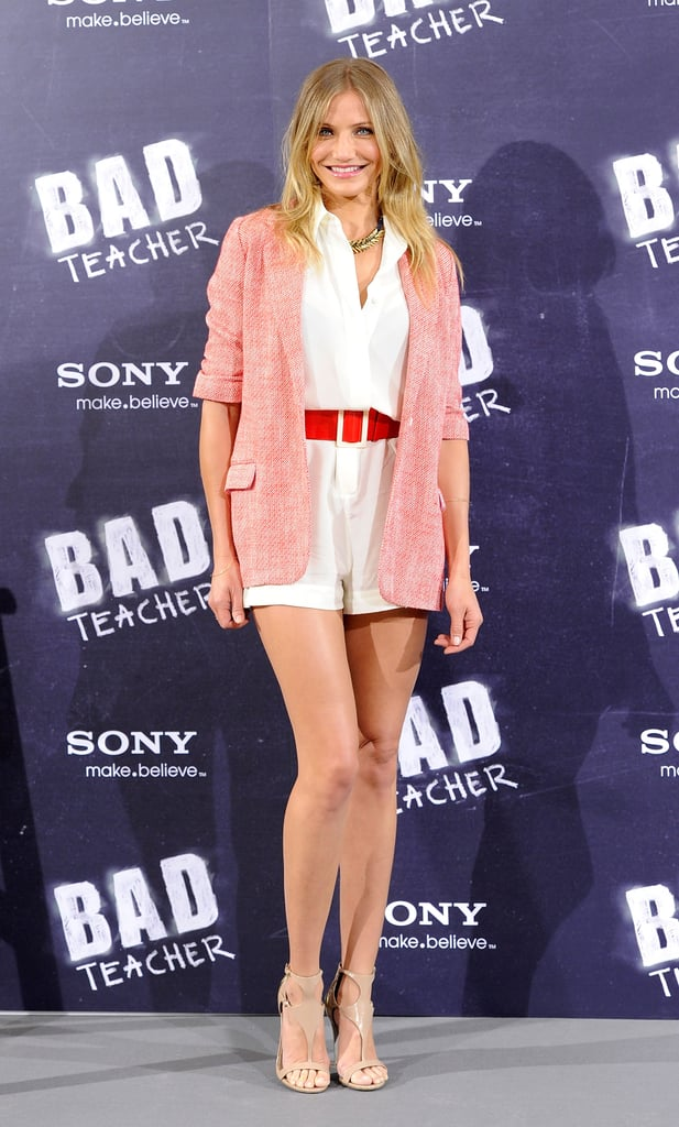Cameron Diaz wore an Elizabeth and James blazer to this morning's photo call for Bad Teacher at Madrid's Villamagna Hotel. The actress is abroad prepping for the European release of her upcoming comedy, which hits big screens in the US on June 24. Cameron will head back to the US during the week before its debut for interviews and press stops, including a premiere in the Big Apple. Her stay in NYC, unfortunately, doesn't coincide with her boyfriend Alex Rodriguez's Yankees schedule, as he and his team will be in Cincinnati for a series against the Reds. Cameron and Alex are pros at finding time to be together despite their demanding schedules, and they were in Florida to check in on construction at their Miami home just last week. Cameron was also recently in London to shoot Gambit with Colin Firth. It turns out another heartthrob was in her company during a gym visit in England — Cameron worked out next to Prince Harry, and he reportedly challenged her to a race on their adjacent treadmills!