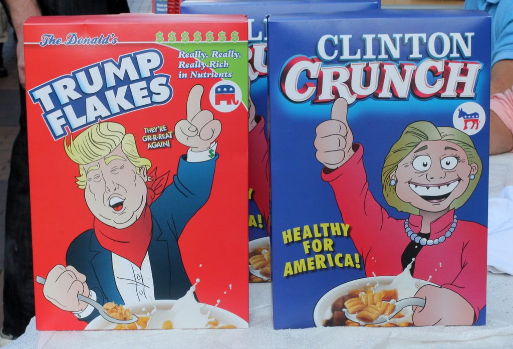 New breakfast staple? Trump Flakes and Clinton Crunch cereals, created by Darrin Maconi, a 27-year-old from New Jersey, were on sale outside the convention center for $40 each or two for $70.