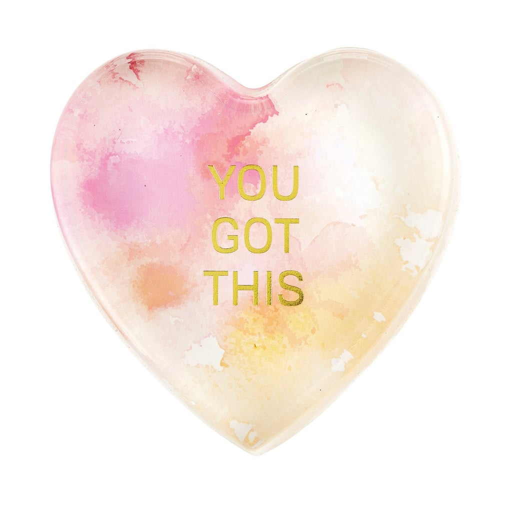 CB Gift Heartfelt Heart-Shaped Glass Watercolor Paperweight You Got This
