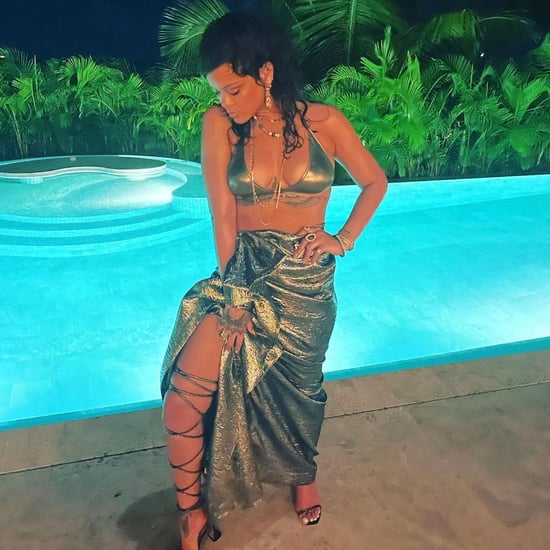 Rihanna Poses By a Pool in a Metallic Bikini and Heels