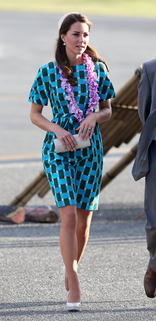 Another look at her bold-printed Jonathan Saunders dress during the Diamond Jubilee tour.