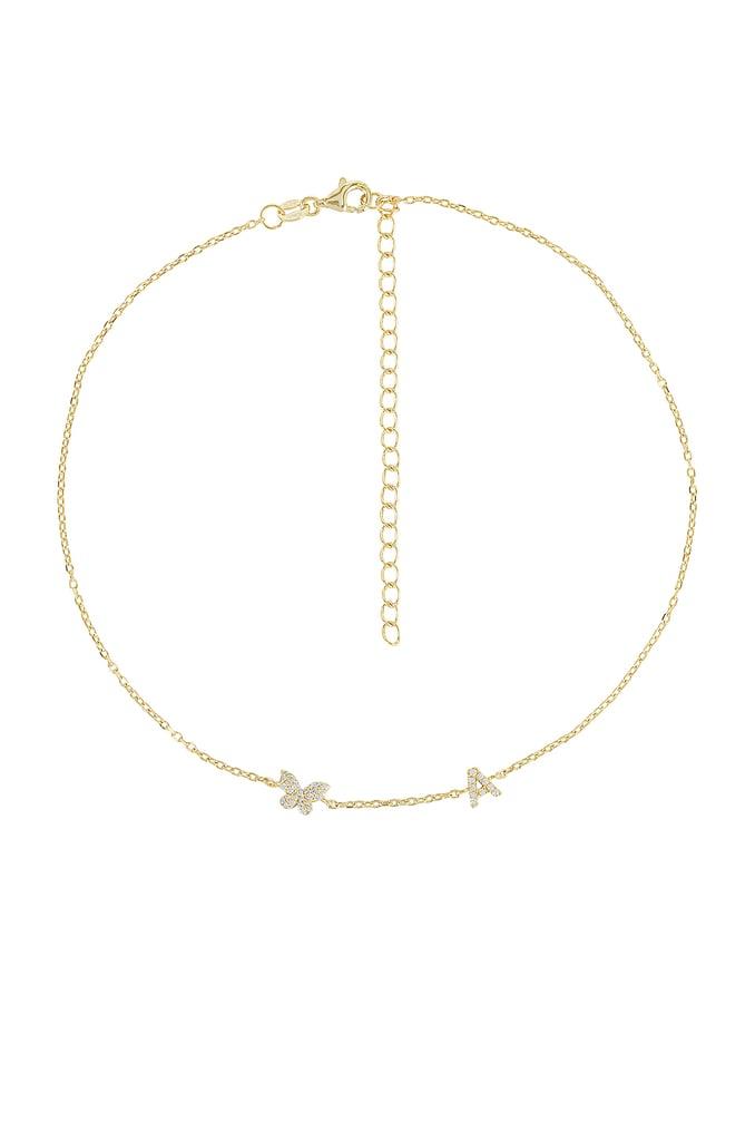Adina's Jewels Pave Butterfly Initial Choker