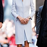It was a pale blue coat dress with sharp shoulders (and a hat just one shade darker) for Easter church services at St Andrew's Cathedral in Sydney.